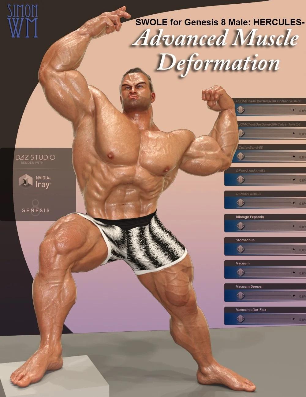 SWOLE for Genesis 8 Male: Hercules - Advanced Muscle Deformation
