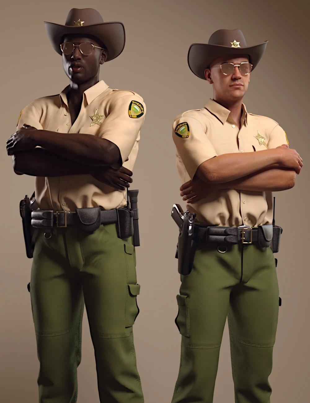 dForce Sheriff Uniform and Props for Genesis 8 Males