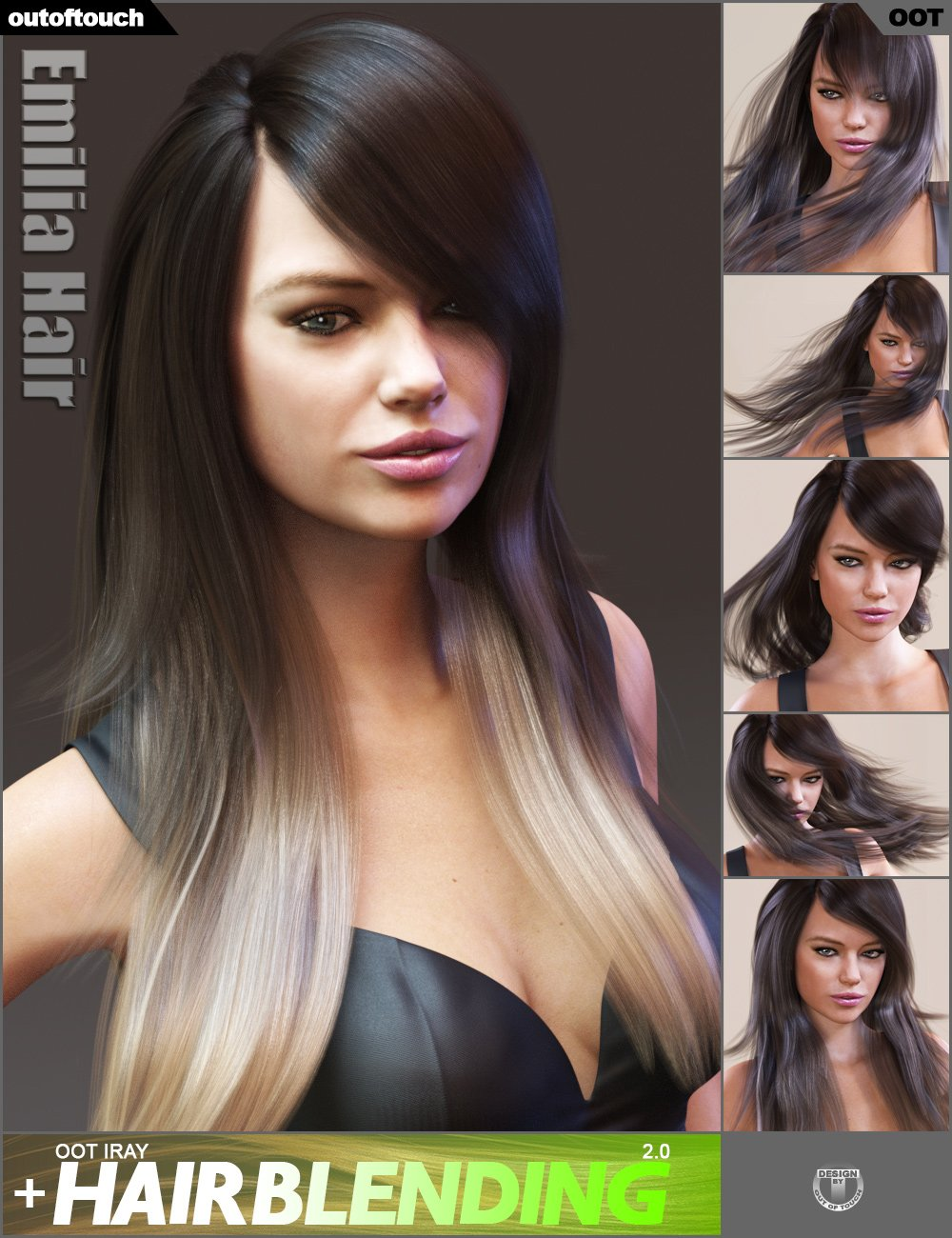 Emilia Hair and OOT Hairblending 2.0 for Genesis 3 Female(s)