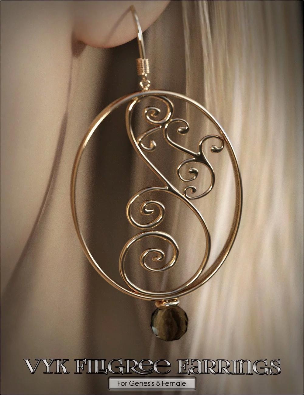 VYK Filigree Earrings for Genesis 8 Female(s)