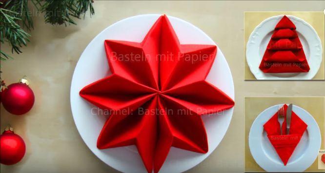 012 украсить новогодний стол, сложить красиво салфетку