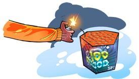 Как поджечь батарею салютов