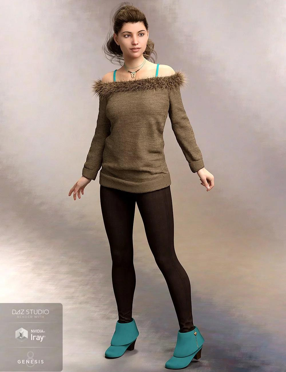 Cozy Sweater Outfit for Genesis 8 Female(s)