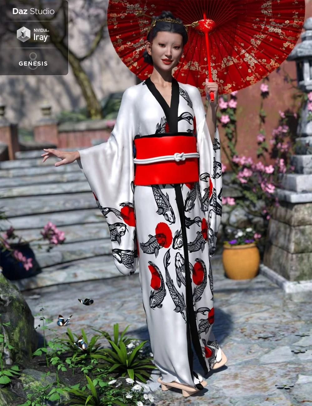 dForce Kimono Outfit for Genesis 8
