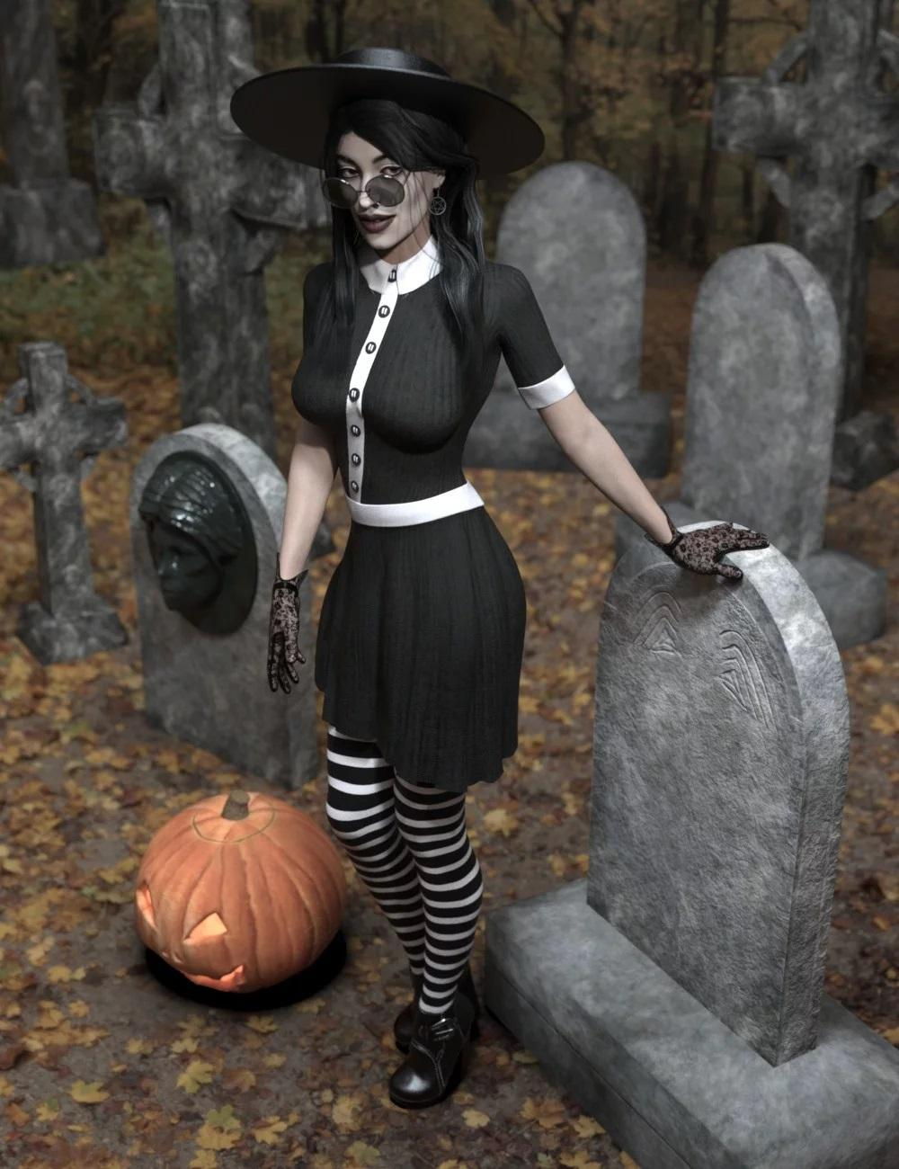 dForce Playful Witchy Outfit for Genesis 8 Female(s)