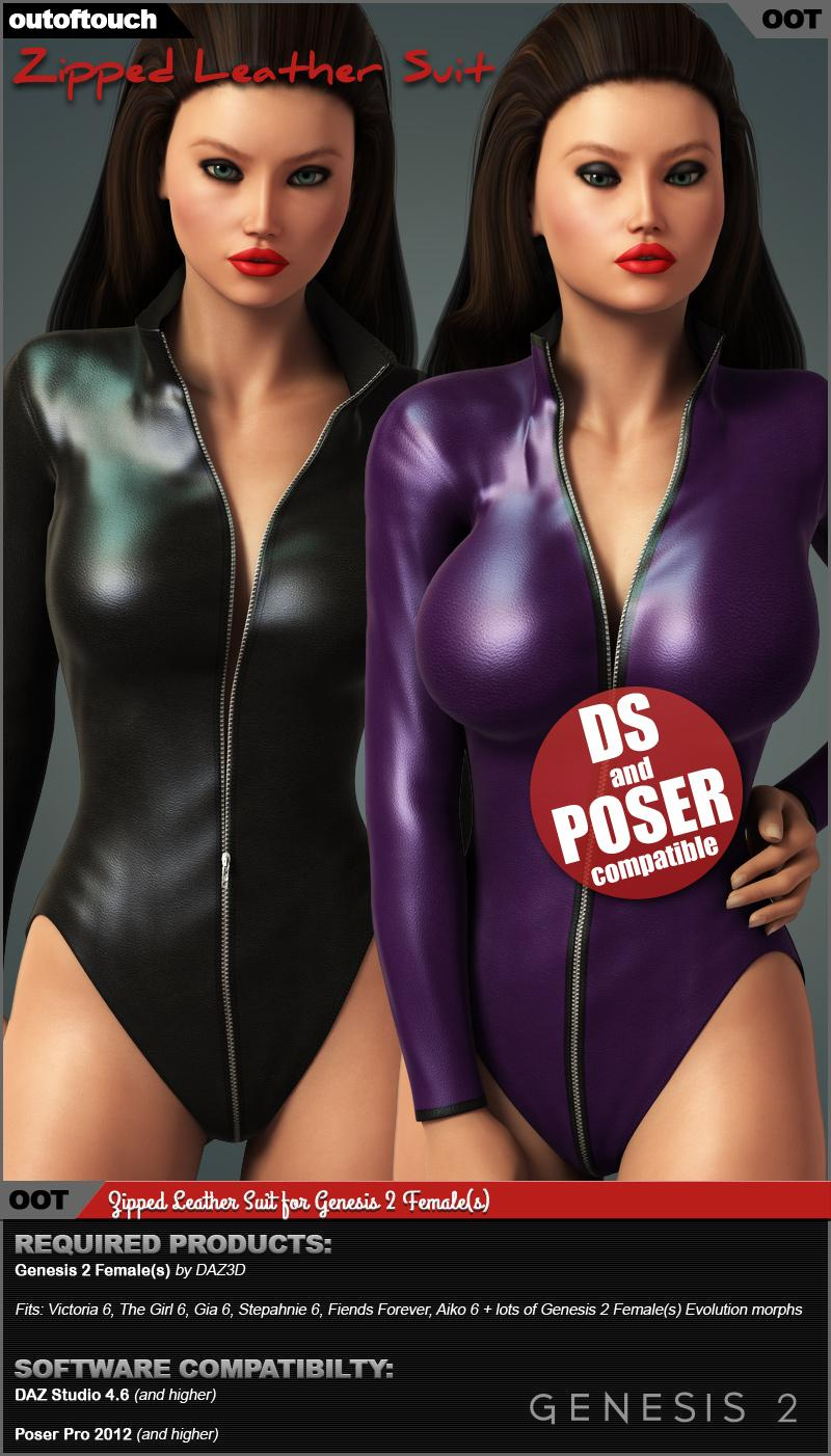 Zipped Leather Suit for Genesis 2 Female(s)