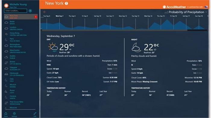 AccuWeather для Windows 10