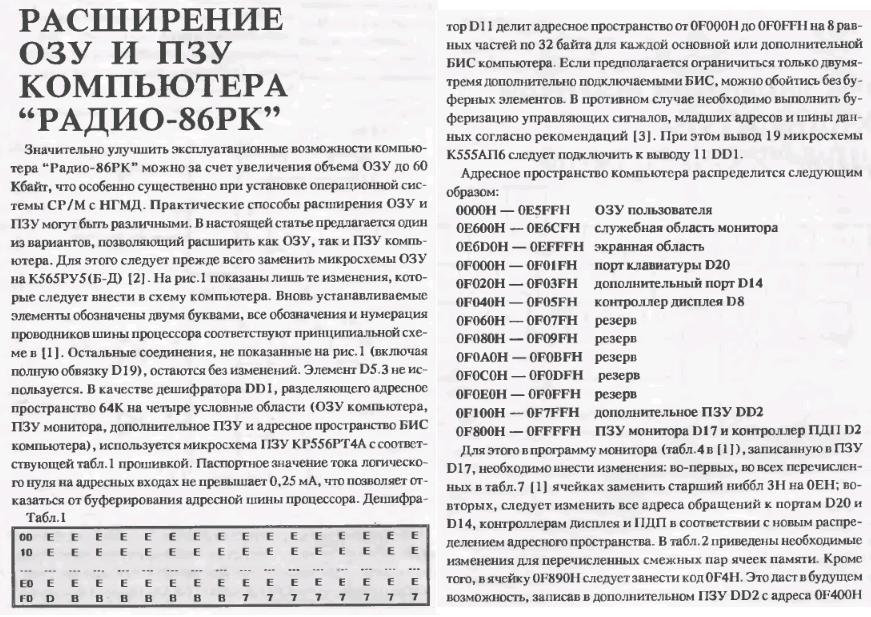 Радио-86РК: Расширение ОЗУ ExtendedRAM1.1557959055