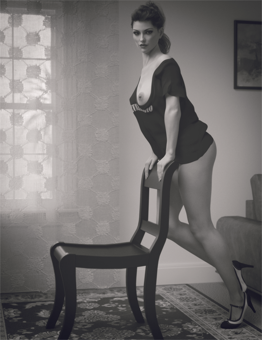 Posing with the chair