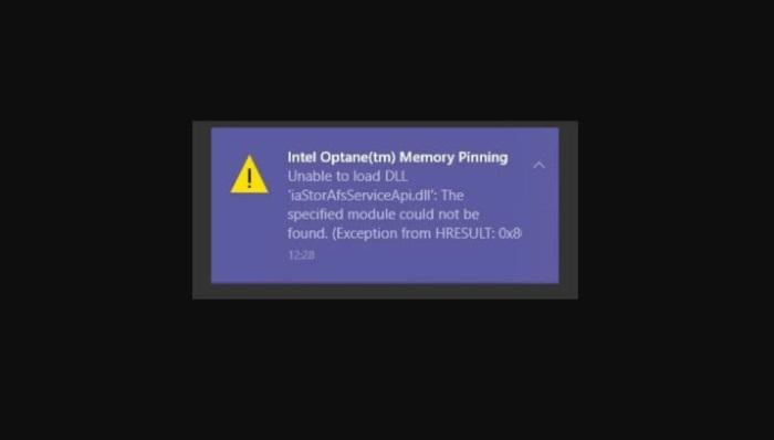 Как исправить ошибку закрепления памяти Intel Optane в Windows 10