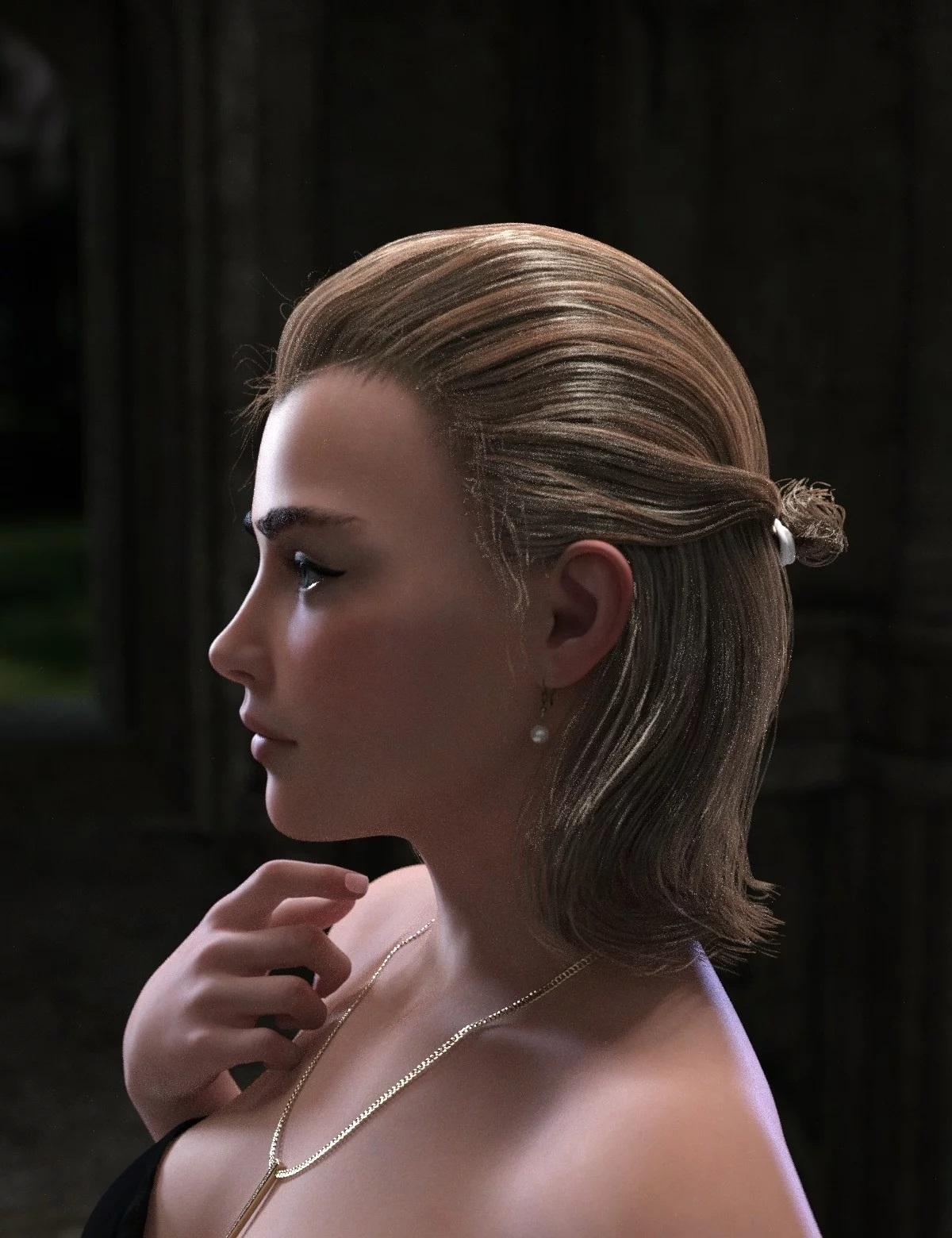 Paulyn Tied Bun Hair for Genesis 8