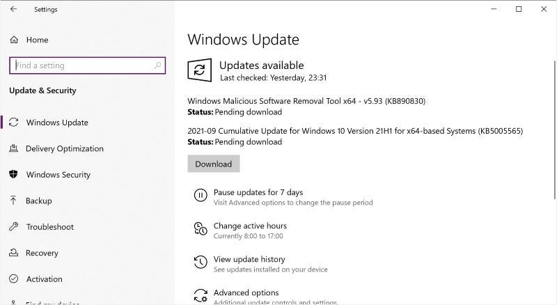 Обновлениие KB5005565 для Windows 10