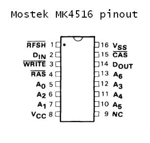 Сборка и настройка платы Apple-II MK4516pinout.1547787367