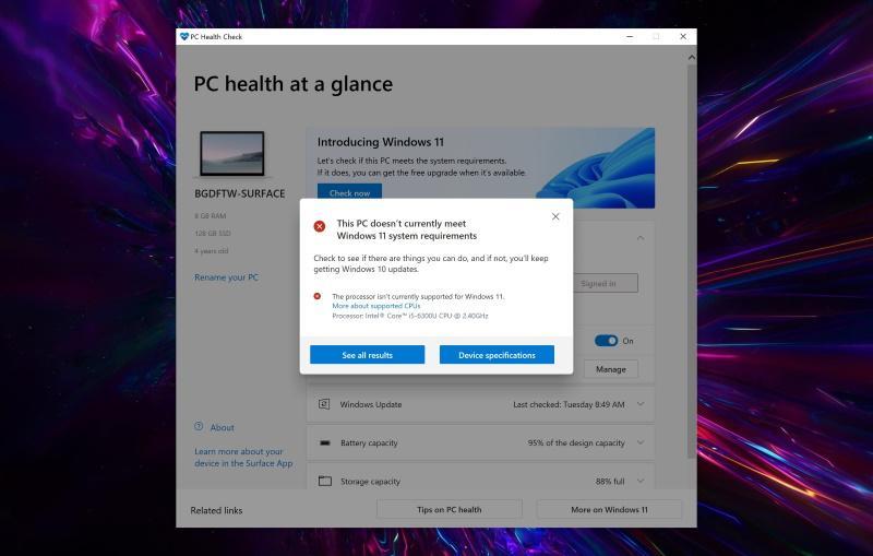 PC Health Check проверит ПК на совместимость с Windows 11