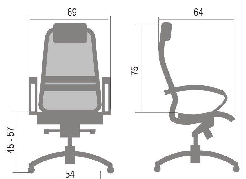 Размер кресла компьютерного SAMURAI