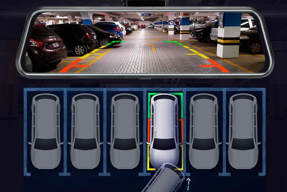 автомобильный видеорегистратор-зеркало отлично справляется с ролью парковочного помощника