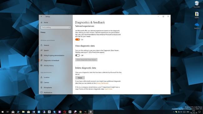 Прозрачность данных в Windows 10 Privacy Journey