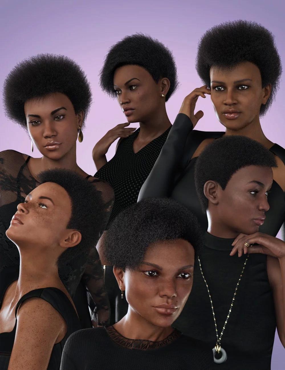dForce Afro Styles Hair for Genesis 8 Female(s)
