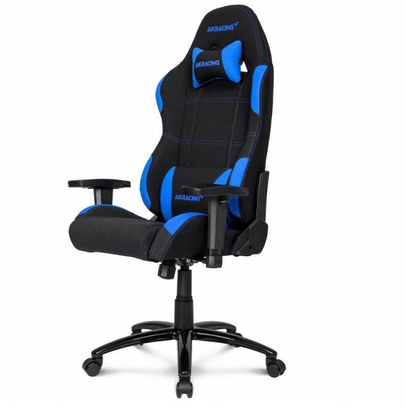 синее тканевое игровое кресло геймера АКРасинг