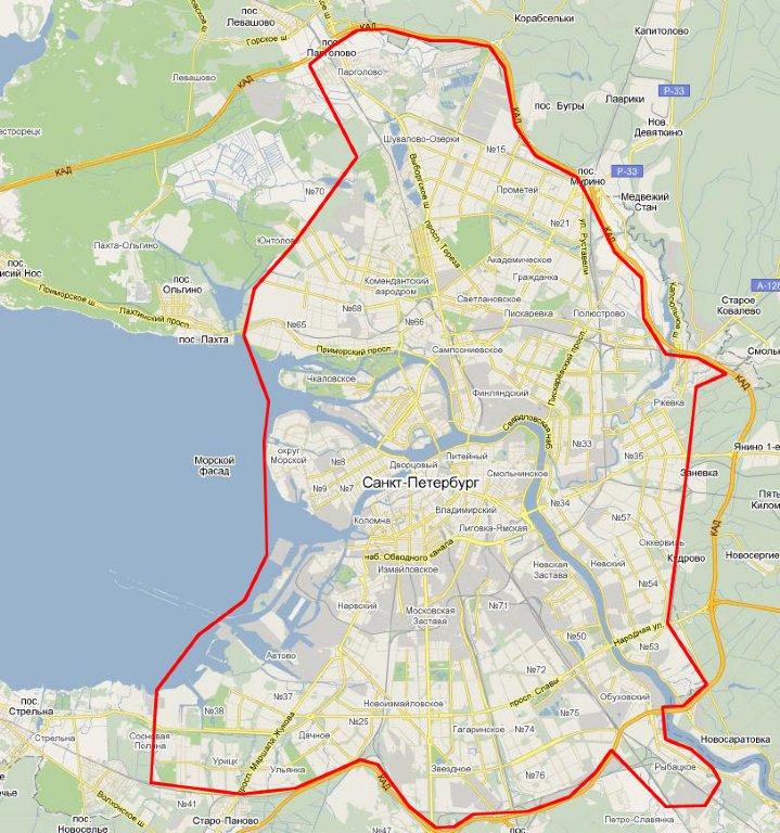 Зона бесплатной доставки в Санкт-Петербурге