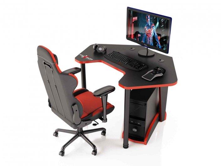 Угловой игровой компьютерный стол PILOT-12 RED