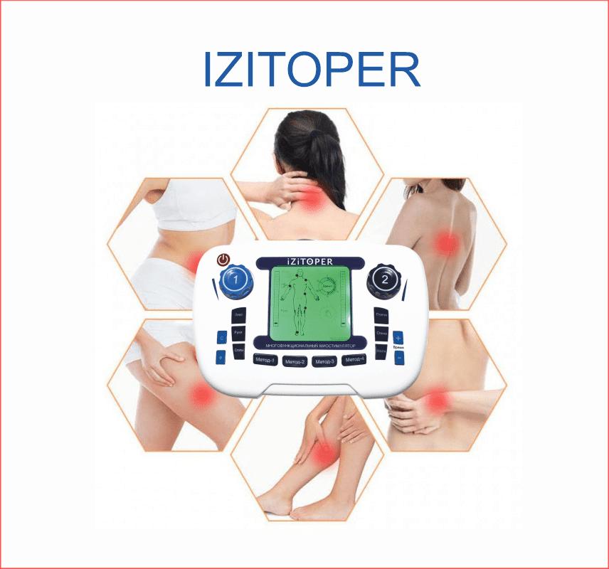 Импульсный массажер, полупрофессиональный, многофункциональный миостимулятор IZITOPER 5в1