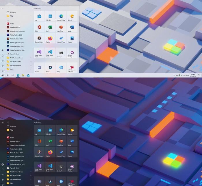 Рабочий стол Windows 10 с новым меню Пуск