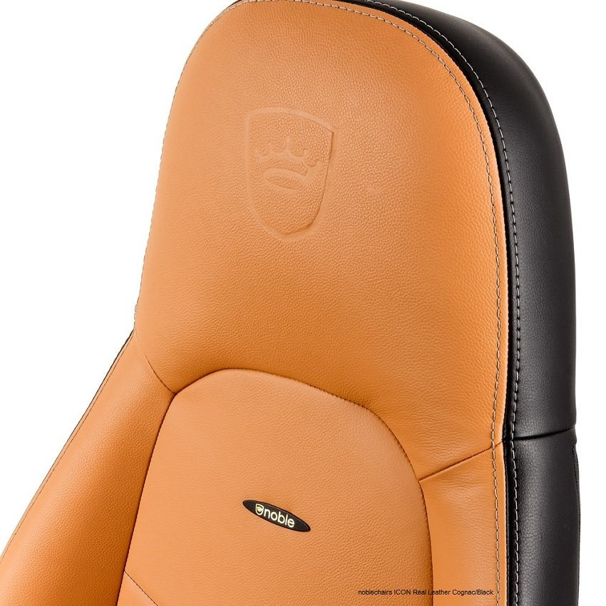 натуральная кожа noblechairs ICON Real Leather Cognac/Black