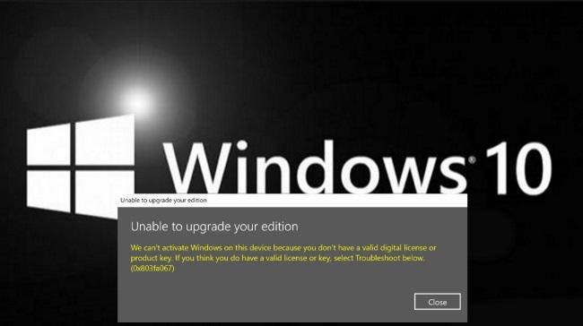 Код ошибки 0x803fa067 в Windows 10