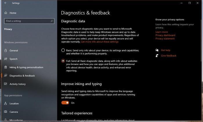 Понимание новых настроек телеметрии в Windows 10