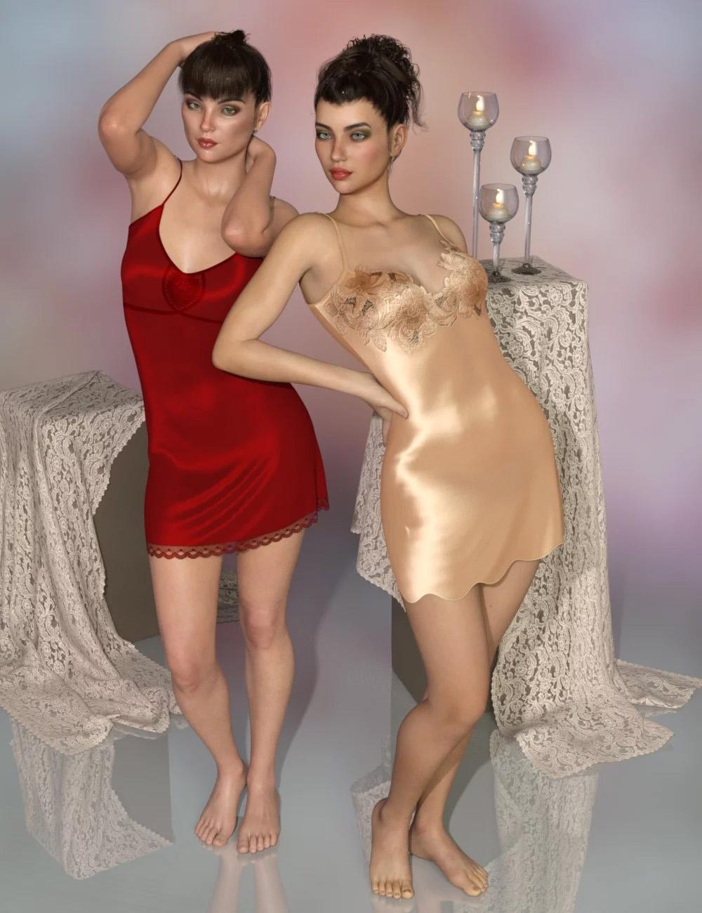 dForce Chelsea Slip Dresses for Genesis 8 Female(s)