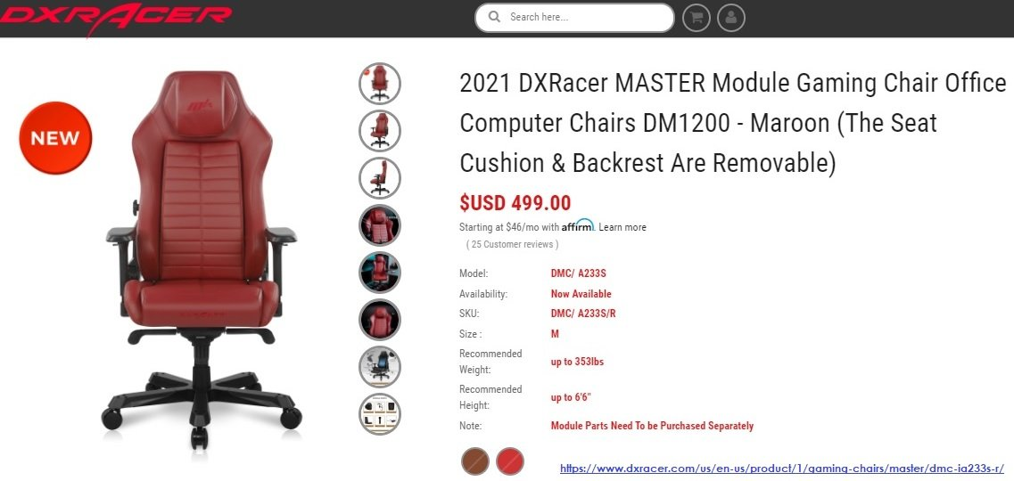 DXRACER D-DMC/DA233S/R КОМПЬЮТЕРНОЕ КРЕСЛО DXRacer D-DMC/DA233S/R - компьютерное кресло серии Master Drifting красного цвета