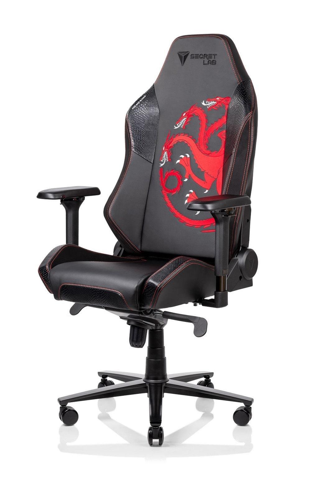 игровое кресло секрет лаб с драконами на спинке
