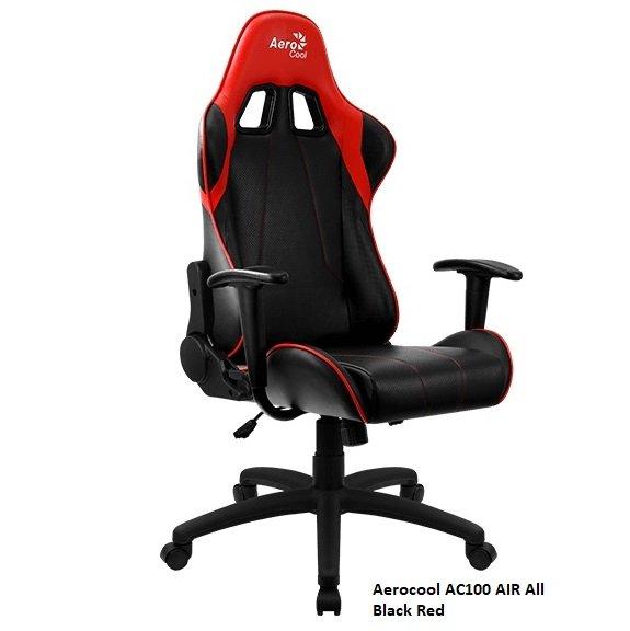 Кресло геймерское Aerocool AC100 AIR All Black Red, черно-красное, до 150 кг, ШxДxВ : 69x70x121-13